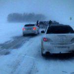 Водители попали в снежный плен на трассе Таганрог-Ростов